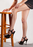 Long Legs in High Heels. An image of a woman's long, fit legs and feet in high heels Stock Photo