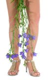 Long legs on high heels with flowers. On white Stock Photography