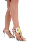 Long legs on high heels with flowers. On white Stock Image