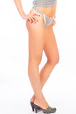 Long legs on high heels. Over white Royalty Free Stock Images