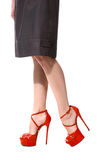 Long legs in red sandals shoes close up. Photo isolated on white Royalty Free Stock Image