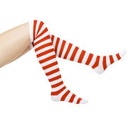 Long legs in red and white socks Royalty Free Stock Photography