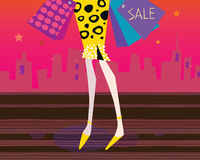 Long legs woman is shopping. Shopping woman in the city. Lifestyle fashion illustration Royalty Free Stock Photo