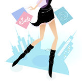 Long legs woman shopping in the city. Vector illustration of sexy long - legs woman with shopping bags Royalty Free Stock Image