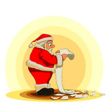 Long letter. Santa Claus just recieved a very long letter Royalty Free Stock Image