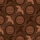 Long life ancient word crane seamless pattern Stock Images