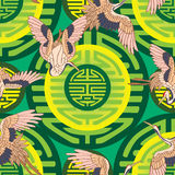 Long life crane like moon green young seamless pattern. This illustration is drawing and design long life sign with crane, yellow color like moon, green color Stock Photography