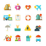 Long life insurance vector flat icons. Family money protection symbols. Insurance travel and family, illustration of insurance baggage Stock Photography