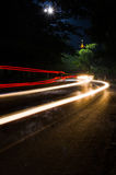 Long light trails ot the temple, Khao Hua Jook Chedi Royalty Free Stock Photography