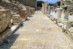 Long line of ancient mosaic at Ephesus, Turkey. Royalty Free Stock Photo
