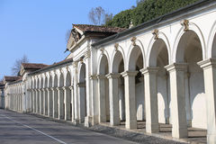 Long line of architectural arcades on the uphill road leading to. Long line of wonderful architectural arcades on the uphill road leading to the Basilica in Royalty Free Stock Images