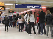 Long Line At The Bus Station Royalty Free Stock Photography