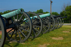 Long line of Civil War Cannon Royalty Free Stock Images