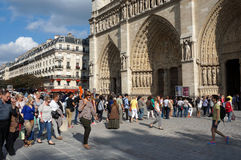 Long Line at Notre Dame Royalty Free Stock Image