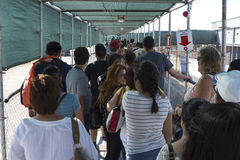 Long line at PedWest border crossing from Mexico to U.S. Stock Photos