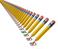 Long line of pencils and check boxes Stock Photography