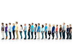 Long line of people standing in queue Royalty Free Stock Photos