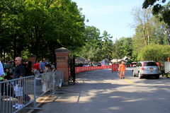 Long line of people waiting for Travers Stakes Day opening, Saratoga,2015 Royalty Free Stock Image