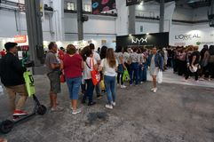 Long Line at the Radical Market. Photo of long line of people waiting to buy cosmetics at the radical market in barcelona spain on 9/27/18. This market offers stock image
