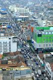 Long line of traffic, seen from top. In asia afrika street, Bandung, Indonesia Stock Image