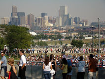 Long Lines at DNC. Long lines to get into Invesco Field last day of DNC with view of downtown Denver in background Stock Images