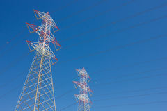 Long lines of power-line tower Stock Images