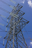 Long lines of powerline towers. Stretching across a blue Sky Royalty Free Stock Photography