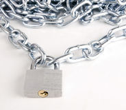 Link Chain Connected By Keyed Steel Locking Padlock on White Stock Photography