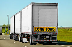 Long Load Truck Sign. When semi-trucks reach a certain length they are required to attach hazard signs such as long load Stock Photography