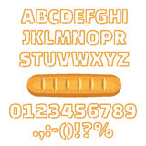Long loaf alphabet numbers vector illustration Royalty Free Stock Images