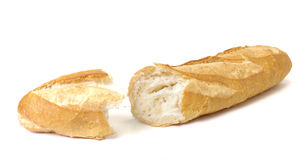 Long loaf, Baguette on white background Stock Image