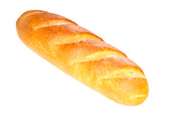 Long loaf bread  on white background Stock Images