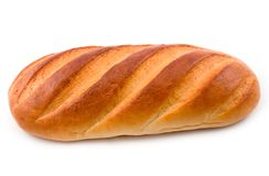 Long loaf cut. Bread from wheat flour and fancy pastry on white background Stock Photo