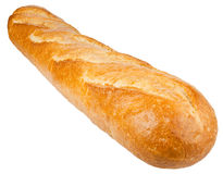 Long loaf. French bread isolated on the white background Royalty Free Stock Photos