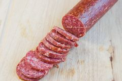 Long loaf the smoked sausage Stock Photo