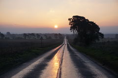 Lonely road. Sun rising over this Norfolk road that goes on for ever it seems Stock Image