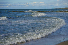Long and low waves of the Baltic sea Stock Photo