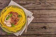 Macaroni pasta with pork Stock Photography