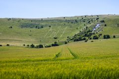The Long Man of Wilmington, East Sussex, England royalty free stock images