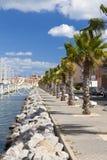The long marina promenade in Gruissan Royalty Free Stock Image
