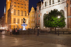 Long Market in Gdansk Old Town by Night Royalty Free Stock Photography