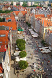 Long market in old town of Gdansk. Architecture of old town in Gdansk, Poland Royalty Free Stock Images