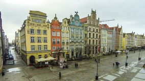 Long Market street Dlugi Targ in Gdansk, Poland stock footage