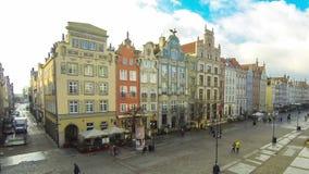 Long Market street Dlugi Targ in Gdansk, Poland stock video footage