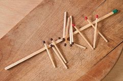 Long match and small matches Royalty Free Stock Image