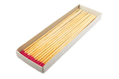 Long matches in a box. Stock Photos
