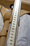 Long measuring rod of an old Pediatric scales to measure the you Stock Image