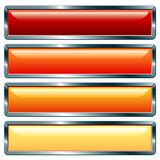 Long metallic hot. Vector buttons with metallic frame, hot collection Royalty Free Stock Photography