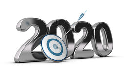 2020 Long or Mid Term Goal. 2020 year, two thousand twenty wit on target and one arrow hitting the center. conceptual image over white background for Stock Photo