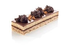 Long milk chocolate and praline cake Stock Image